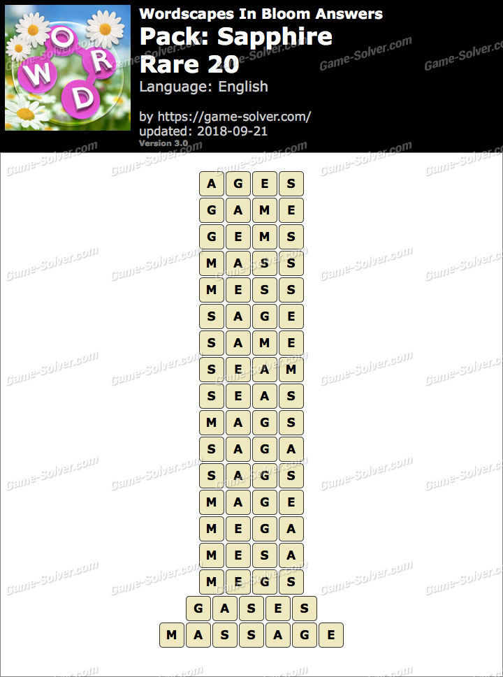 Wordscapes In Bloom Sapphire-Rare 20 Answers