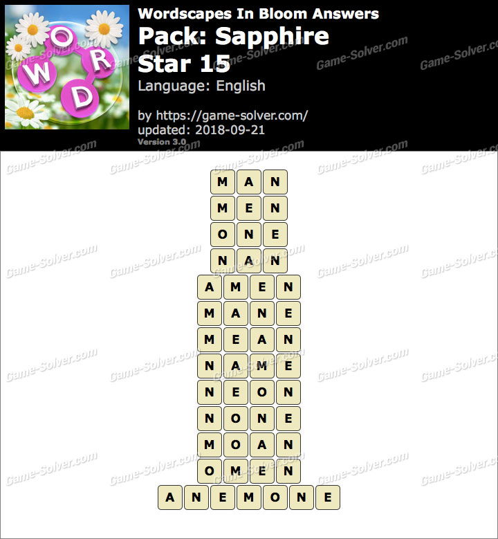 Wordscapes In Bloom Sapphire-Star 15 Answers