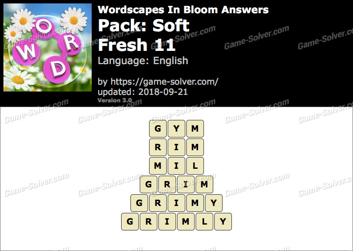 Wordscapes In Bloom Soft-Fresh 11 Answers