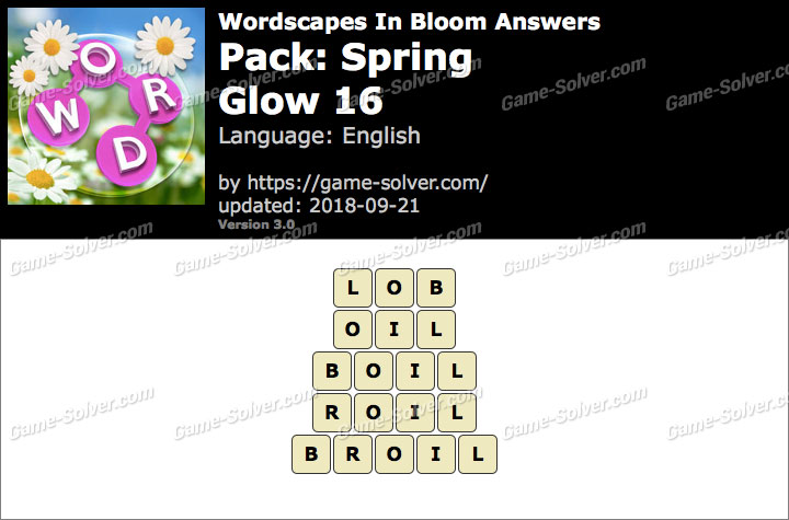 Wordscapes In Bloom Spring-Glow 16 Answers
