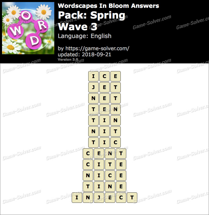 Wordscapes In Bloom Spring-Wave 3 Answers