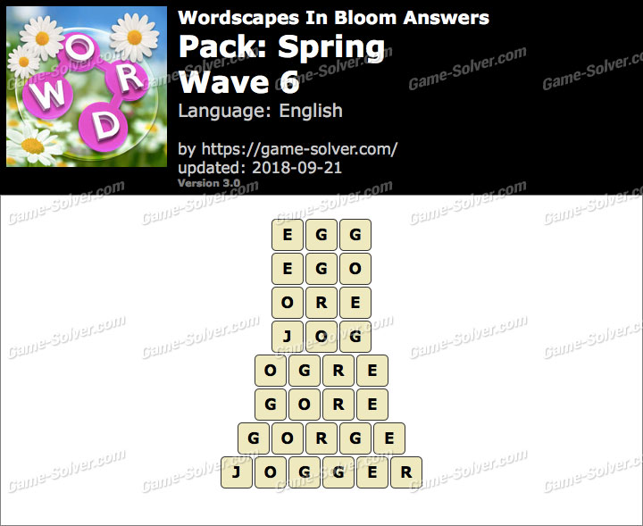 Wordscapes In Bloom Spring-Wave 6 Answers