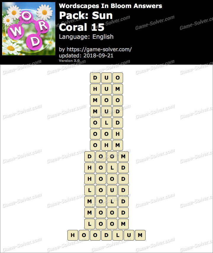 Wordscapes In Bloom Sun-Coral 15 Answers
