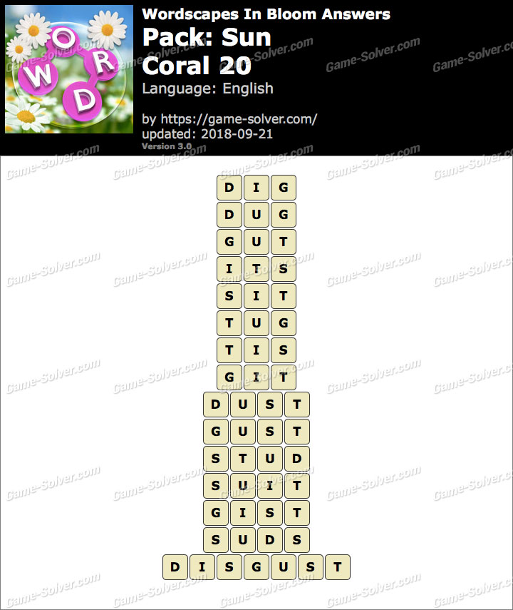 Wordscapes In Bloom Sun-Coral 20 Answers
