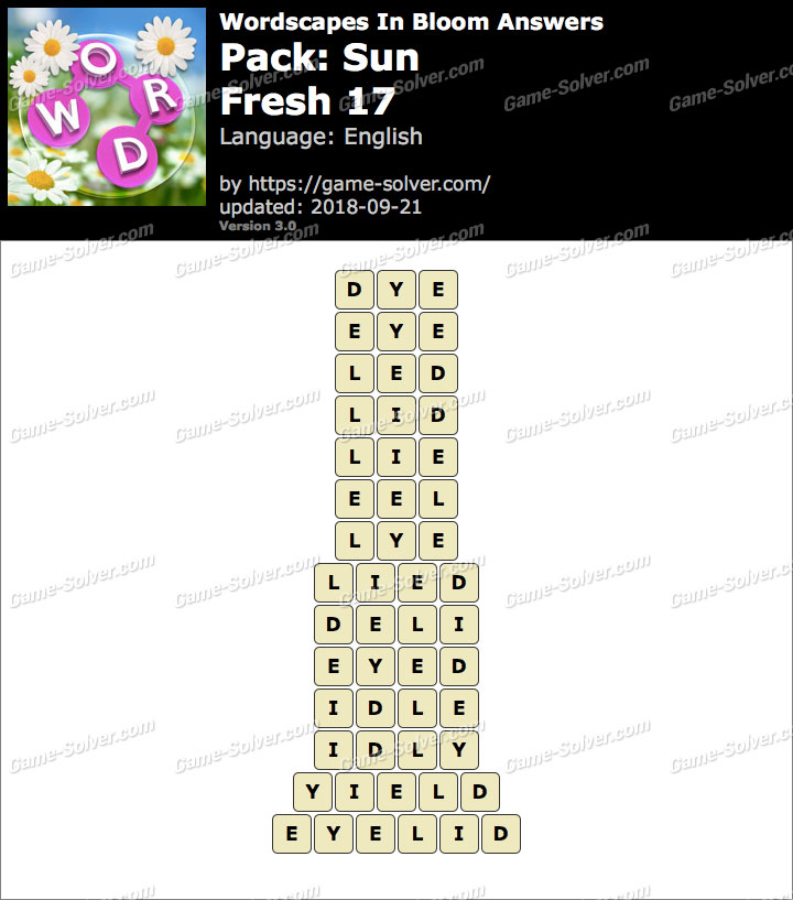 Wordscapes In Bloom Sun-Fresh 17 Answers