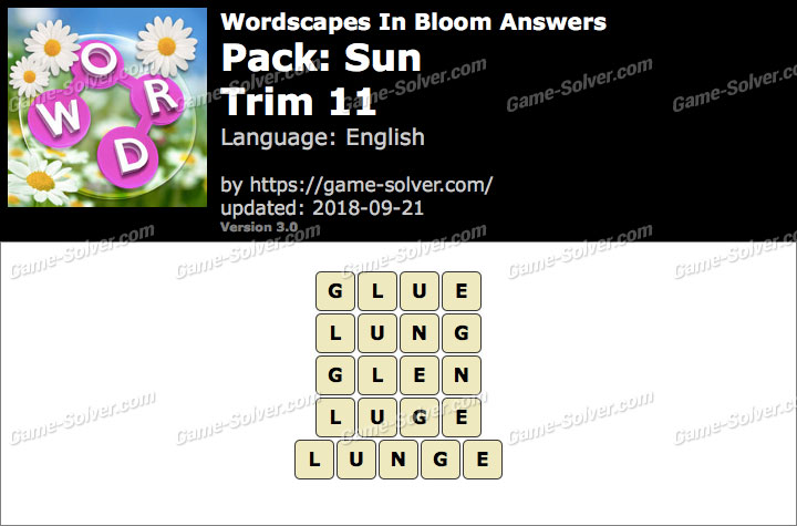 Wordscapes In Bloom Sun-Trim 11 Answers