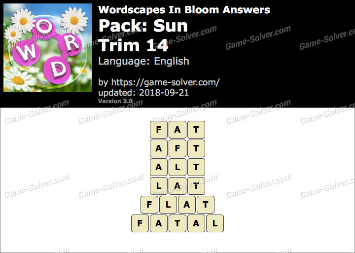 Wordscapes In Bloom Sun-Trim 14 Answers