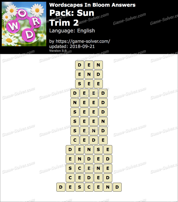 Wordscapes In Bloom Sun-Trim 2 Answers