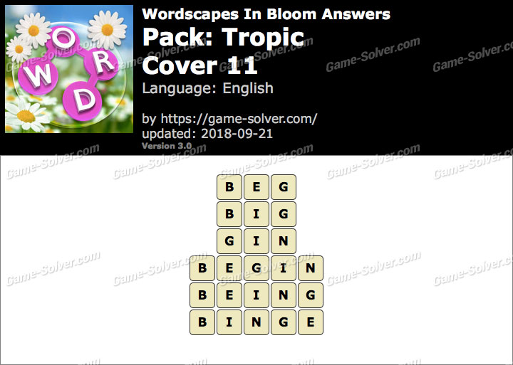 Wordscapes In Bloom Tropic-Cover 11 Answers