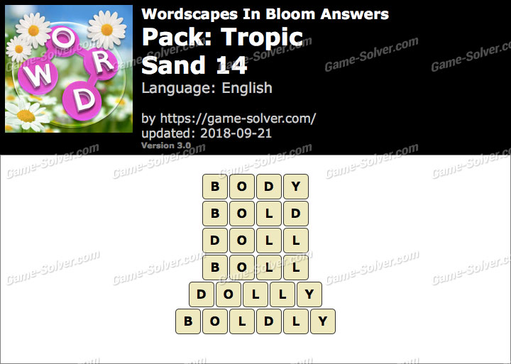 Wordscapes In Bloom Tropic-Sand 14 Answers