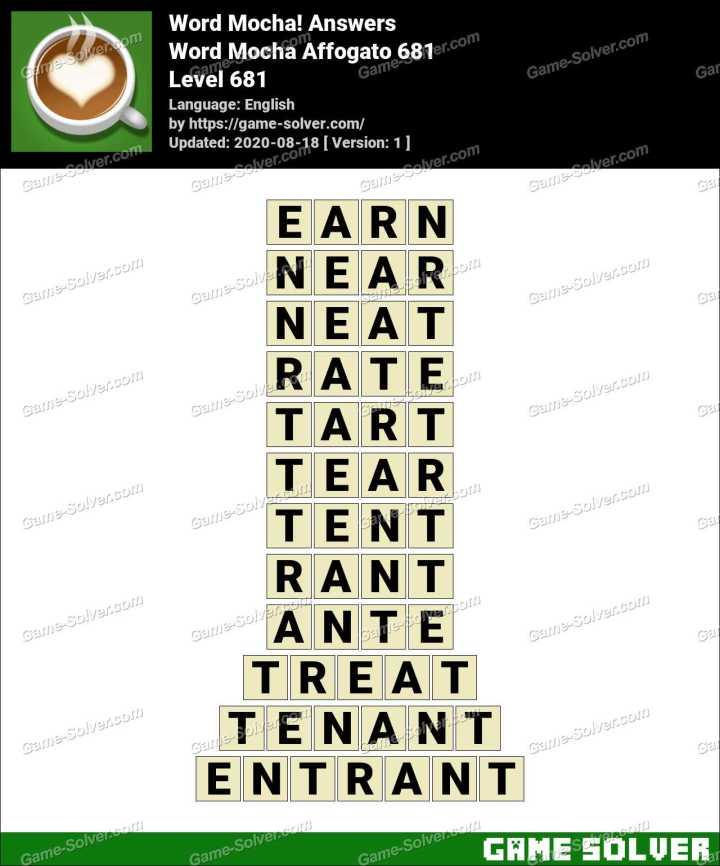 Word Mocha Affogato 681 Answers