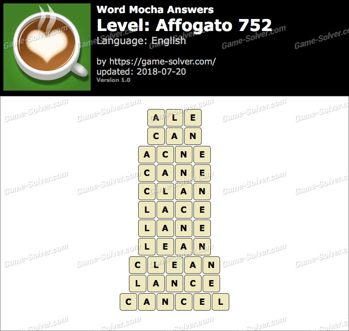 Word Mocha Affogato 752 Answers