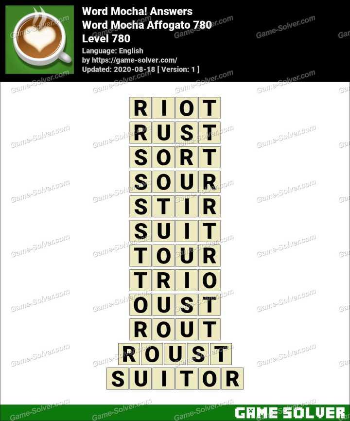Word Mocha Affogato 780 Answers