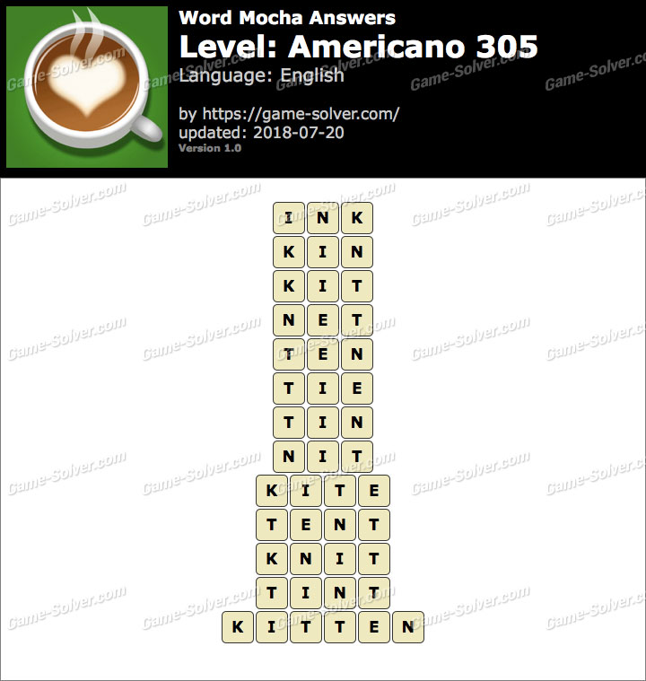 Word Mocha Americano 305 Answers