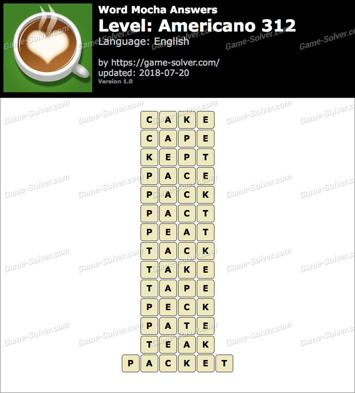 Word Mocha Americano 312 Answers