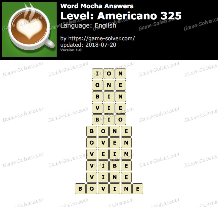 Word Mocha Americano 325 Answers