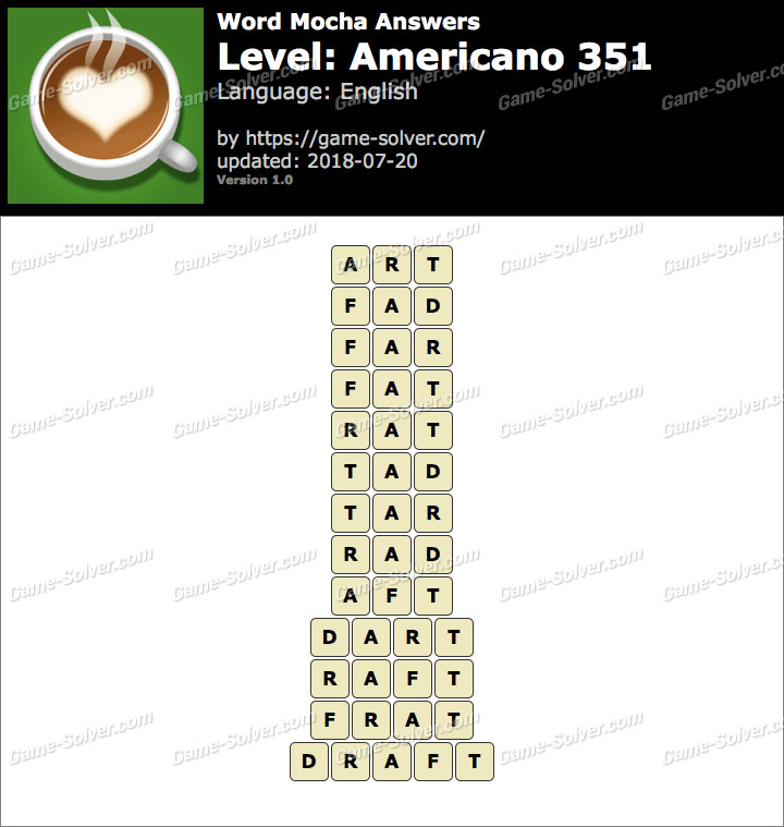 Word Mocha Americano 351 Answers