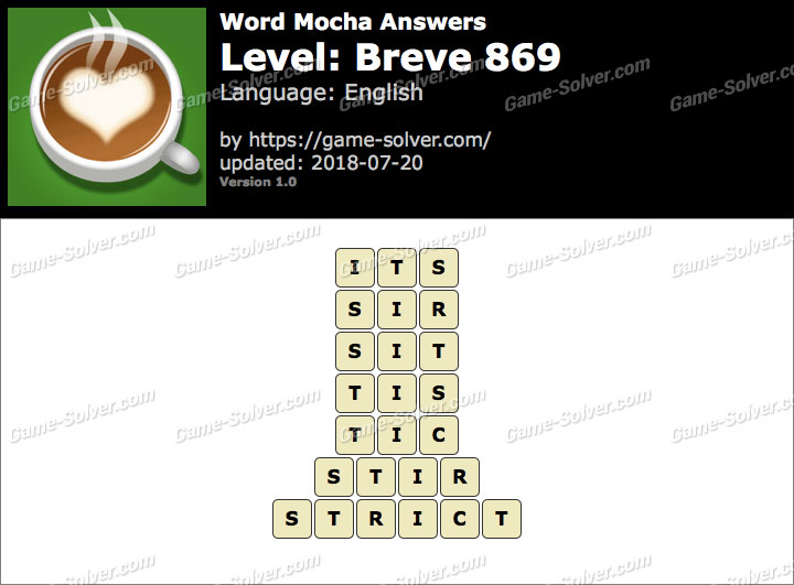 Word Mocha Breve 869 Answers