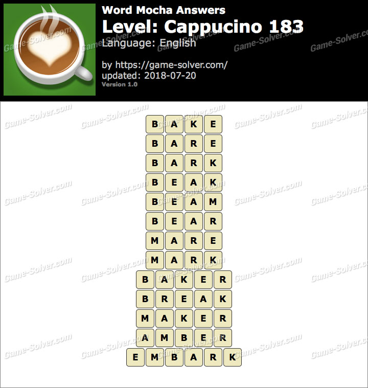 Word Mocha Cappucino 183 Answers