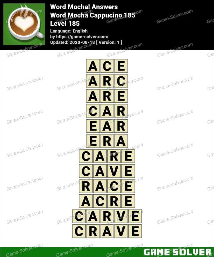 Word Mocha Cappucino 185 Answers