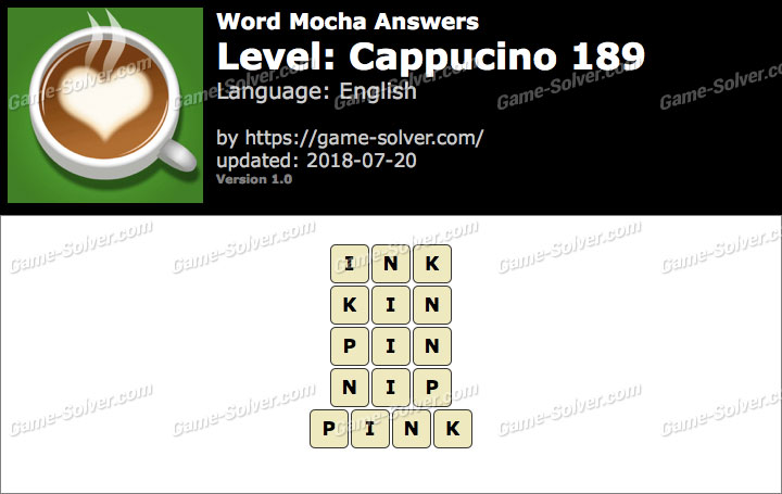 Word Mocha Cappucino 189 Answers