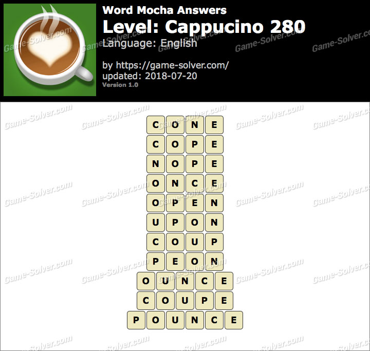 Word Mocha Cappucino 280 Answers