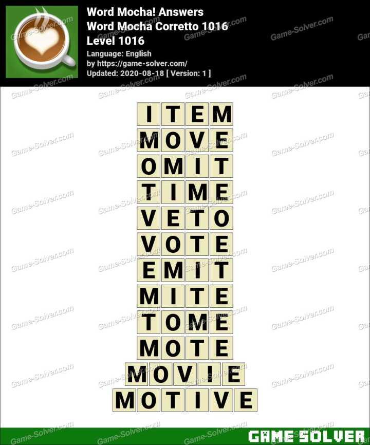 Word Mocha Corretto 1016 Answers