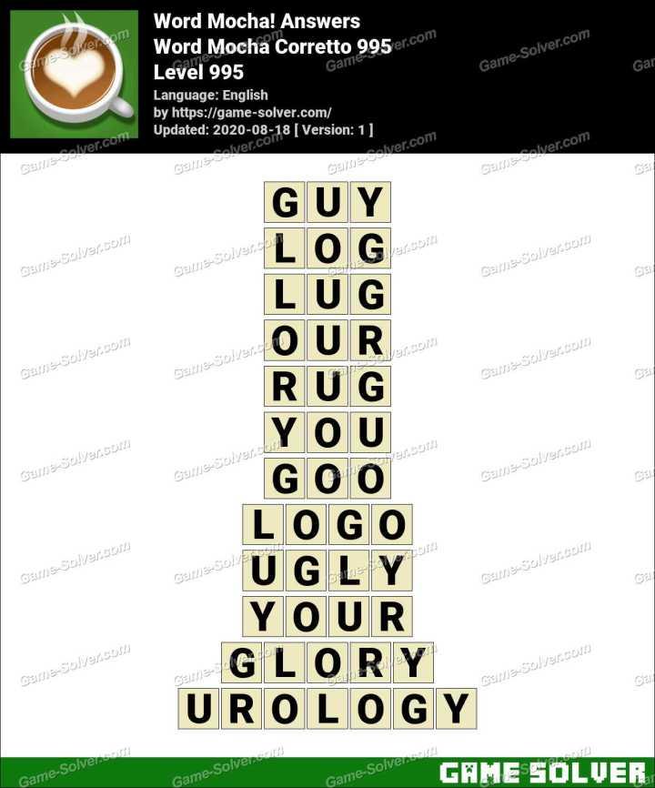 Word Mocha Corretto 995 Answers