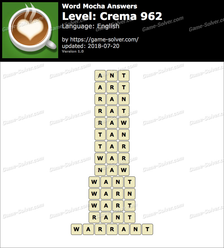 Word Mocha Crema 962 Answers
