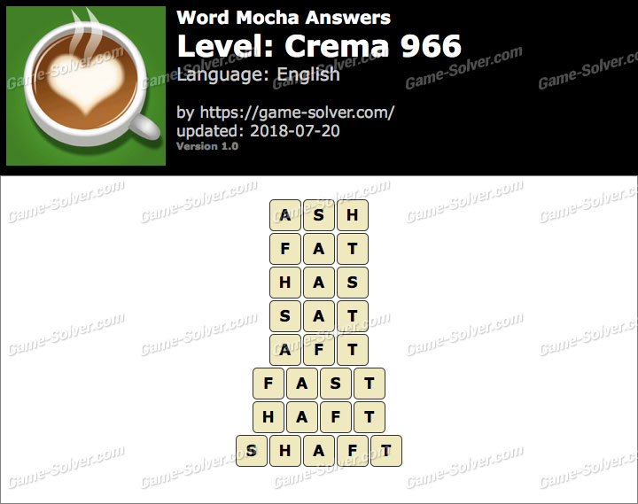 Word Mocha Crema 966 Answers