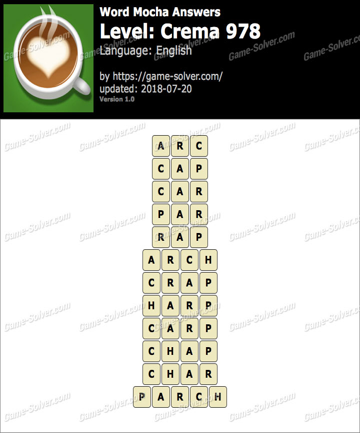 Word Mocha Crema 978 Answers