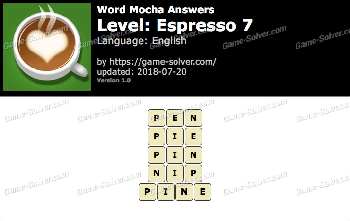 Word Mocha Espresso 7 Answers