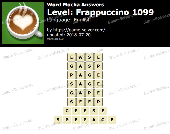 Word Mocha Frappuccino 1099 Answers
