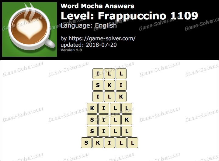 Word Mocha Frappuccino 1109 Answers