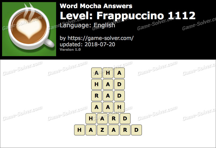 Word Mocha Frappuccino 1112 Answers