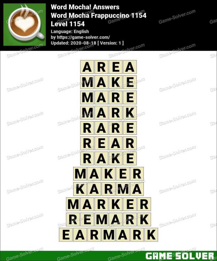 Word Mocha Frappuccino 1154 Answers