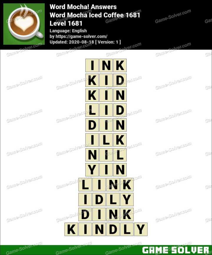 Word Mocha Iced Coffee 1681 Answers