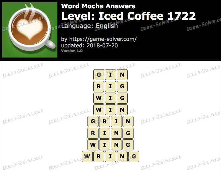 Word Mocha Iced Coffee 1722 Answers