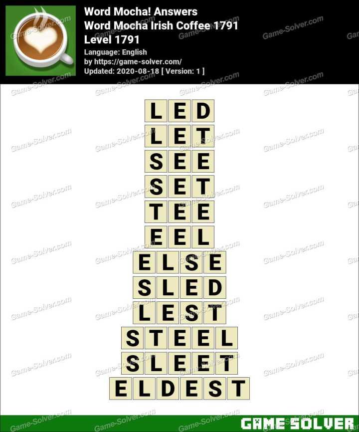 Word Mocha Irish Coffee 1791 Answers