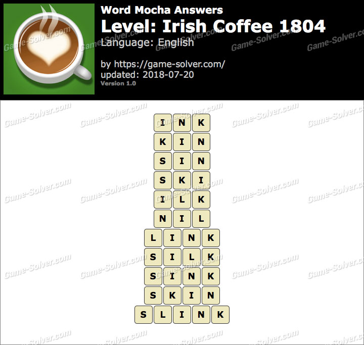 Word Mocha Irish Coffee 1804 Answers