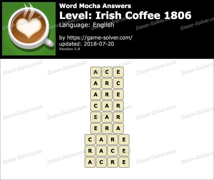 Word Mocha Irish Coffee 1806 Answers