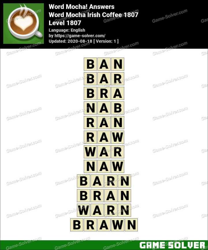 Word Mocha Irish Coffee 1807 Answers