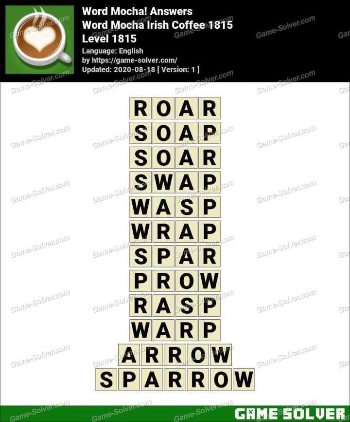 Word Mocha Irish Coffee 1815 Answers