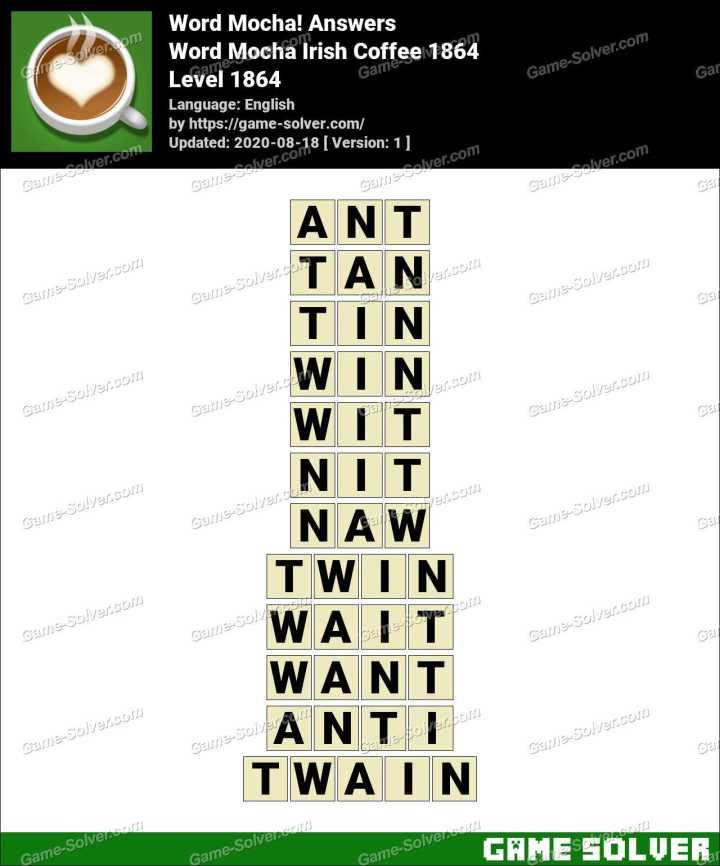 Word Mocha Irish Coffee 1864 Answers
