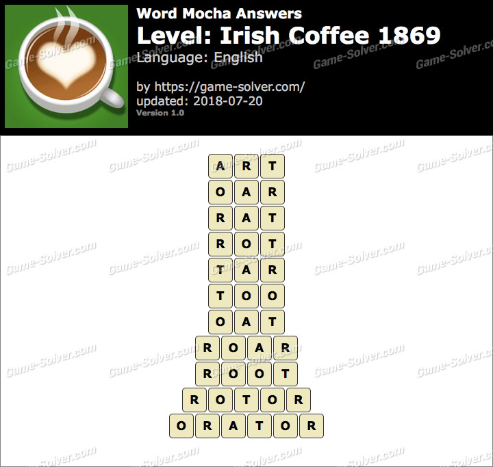 Word Mocha Irish Coffee 1869 Answers