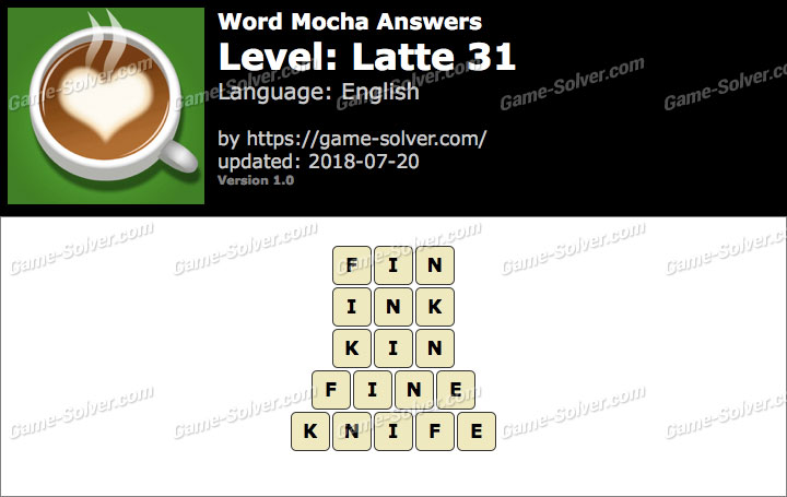 Word Mocha Latte 31 Answers