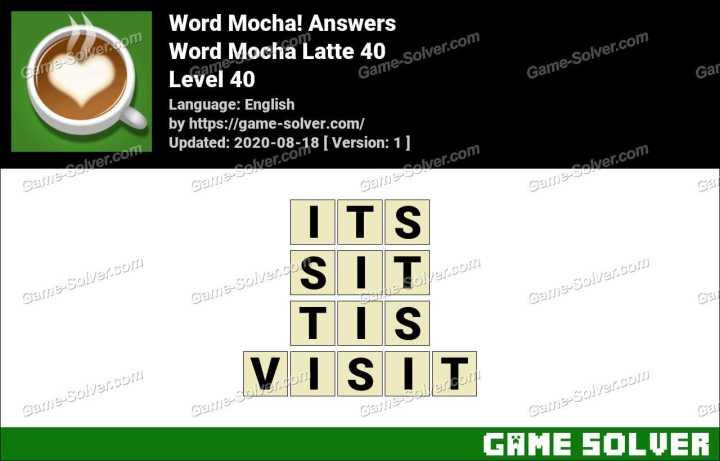 Word Mocha Latte 40 Answers
