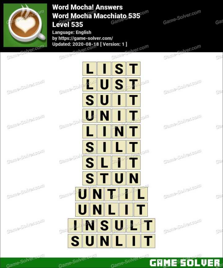 Word Mocha Macchiato 535 Answers