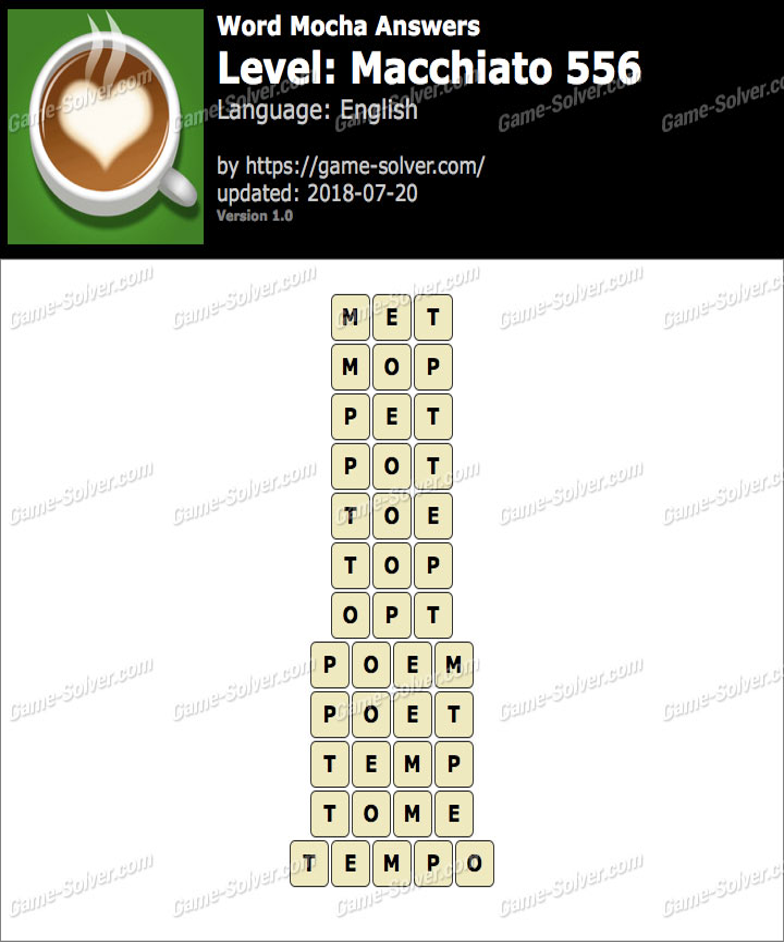Word Mocha Macchiato 556 Answers