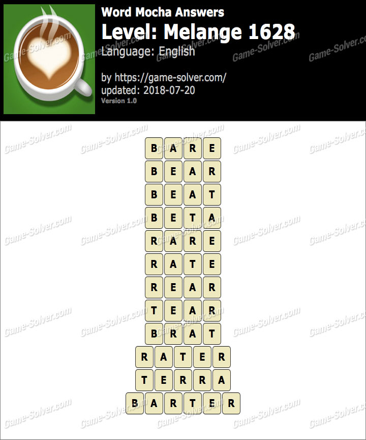Word Mocha Melange 1628 Answers